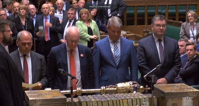 Tellers informing the House of Commons the result of vote on September 9