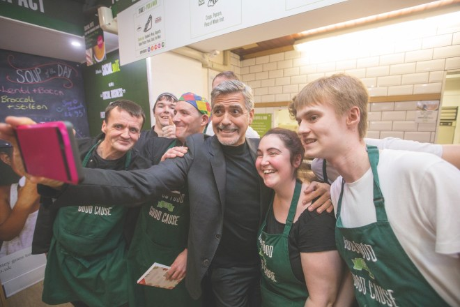 George Clooney at the Social Bite Cafe, which employs homeless people, in 2015