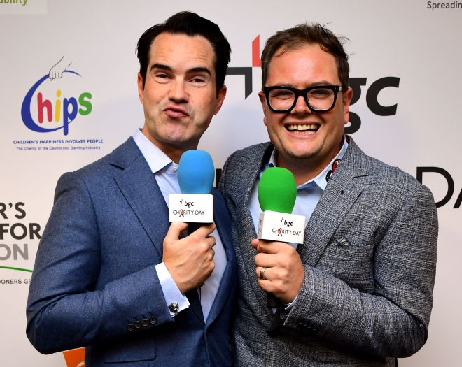 Jimmy Carr and Alan Carr attend the BGC charity day in memory of 9/11