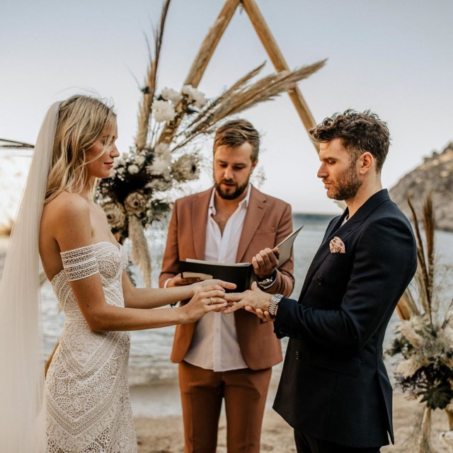 The wedding was officiated by Love Island voiceover man Iain Stirling