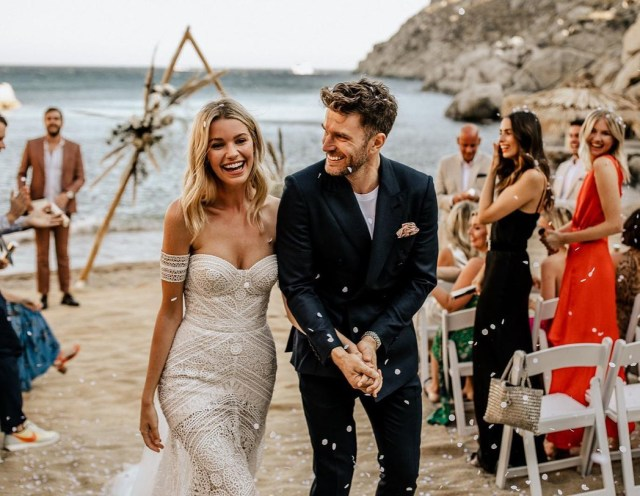Hannah and Joel looked every inch the perfect couple after tying the knot in Mykonos