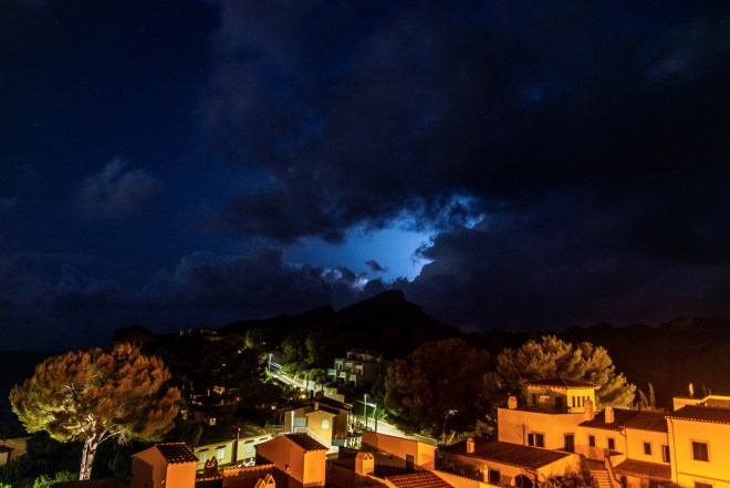Menacing storm clouds over the island of Majorca