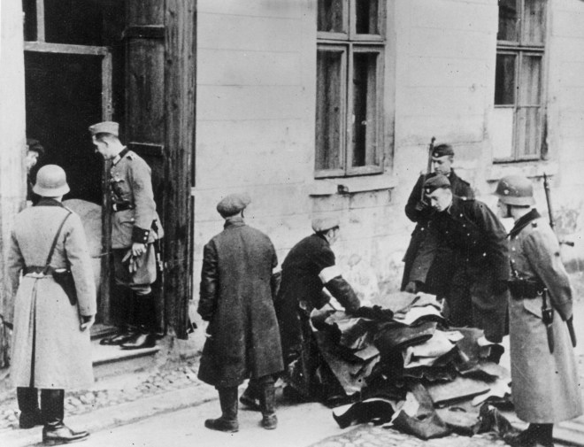 German Army Police confiscate goods found in the house of a Polish Jew in 1941