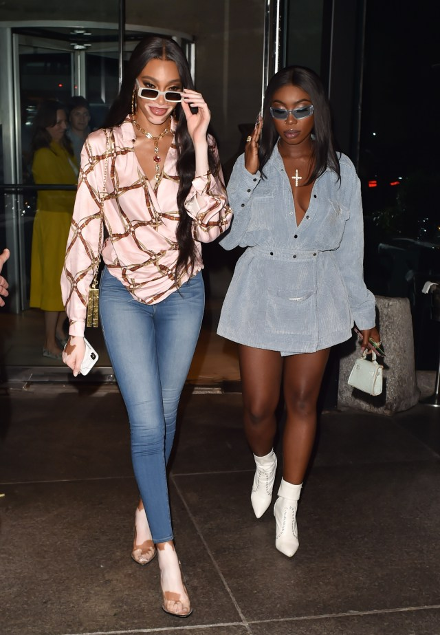 Winnie Harlow opted for a more casual ensemble for dinner