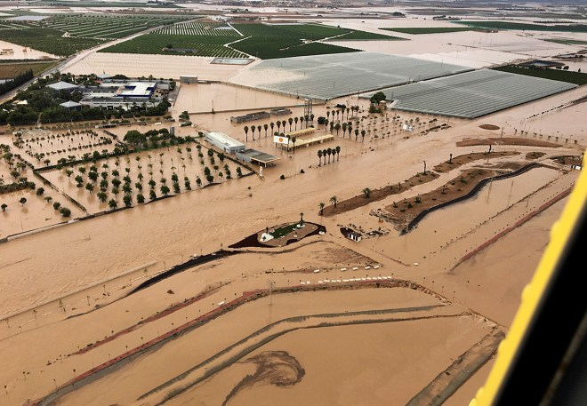 An aerial view of floods in the municipality of Los Alcazares after torrential rains in Murcia