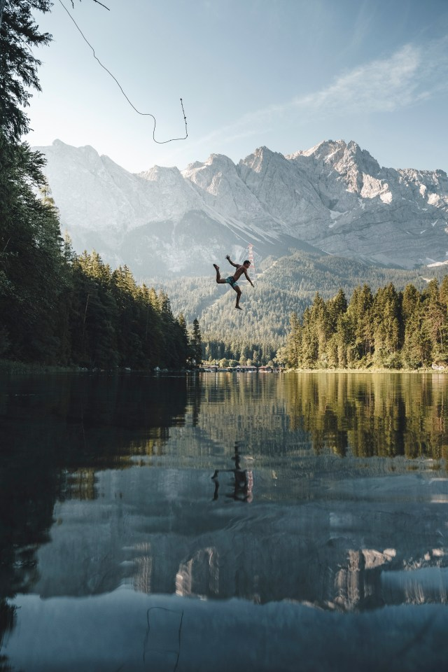 Honorable Mention, People in Nature category: a jump into the iconic lake Eibsee in southern Germany on a hot summer day