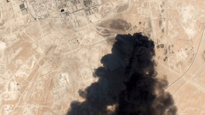 Smoke from the oil plant can be seen from space