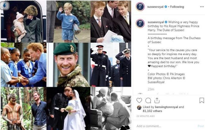 Meghan also shared a touching tribute to Prince Harry to mark his 35th birthday