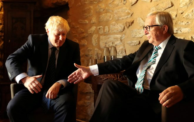 Boris Johnson and Jean-Claude Juncker shook hands on daily negotiations over lunch