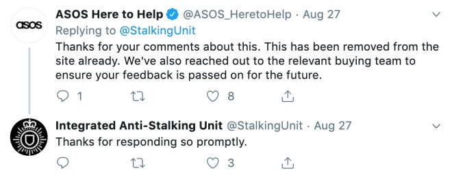 Asos responded confirming the key chain was taken off their website