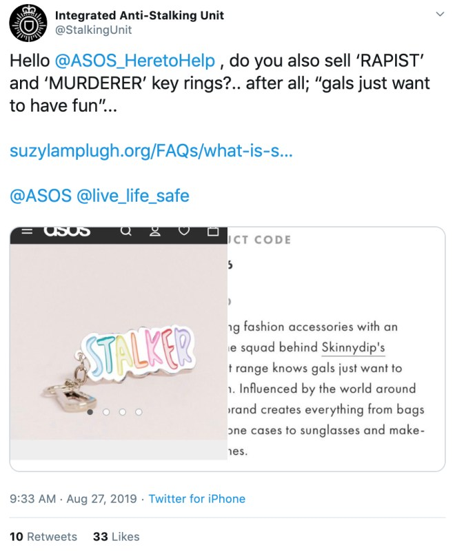 The Integrated Anti-Stalking Unit tweeted this after spotting the keychain being sold on the fashion brand's website