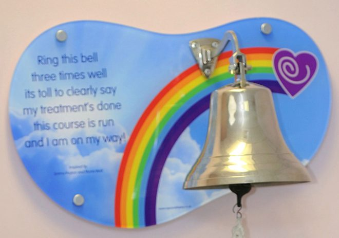 The bell has been removed as it is upsetting for patients still receiving treatment