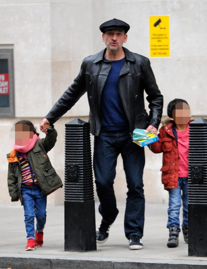Christopher out with his children Albert and Esme