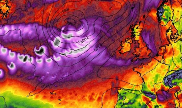 The purple in this WX Charts map shows Hurricane Humberto heading towards the UK