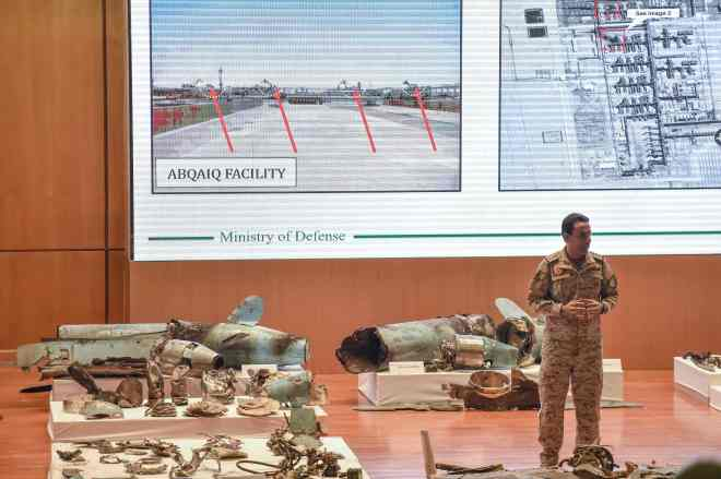 Saudi Colonel Turki bin Saleh al-Malki gives a presentation