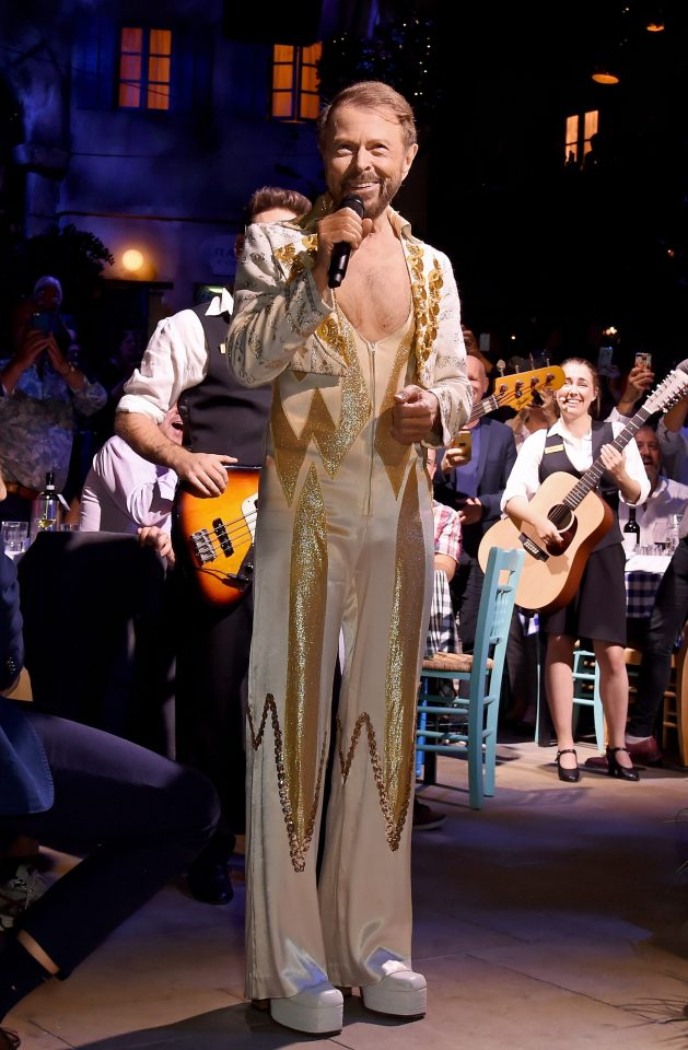 Bjorn Ulvaeus at the launch of Mamma Mia! The Party celebration night in one of his original ABBA costumes