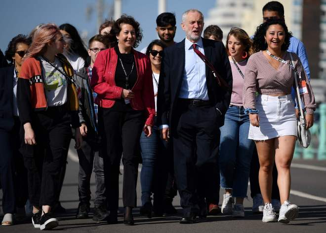 Jeremy Corbyn and Brighton Council leader, Nancy Platt walk with young party members along Brighton Promenade ahead of the party conference today