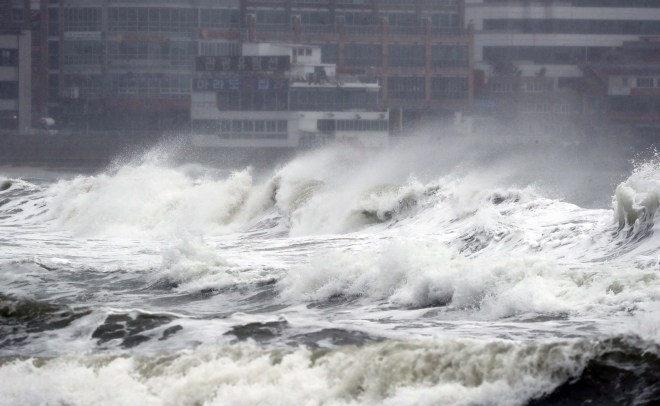 Haeundae Beach is hit by wild waves and strong winds, in Busan, South Korea