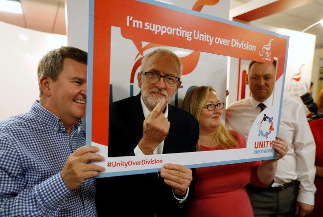 Jeremy Corbyn posed with activists at the Labour party conference in Brighton