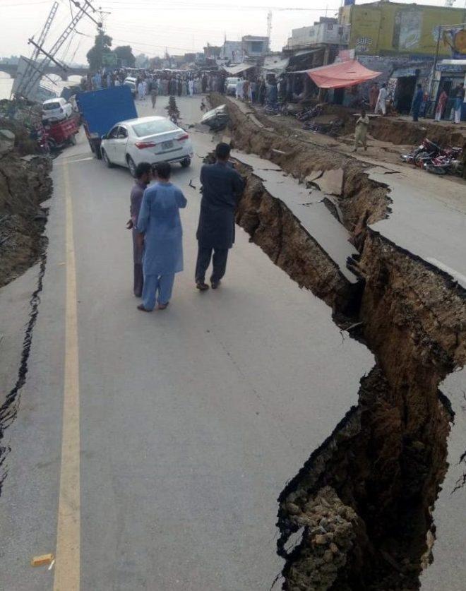 Roads were torn apart near the epicentre of the quake in Mirpur
