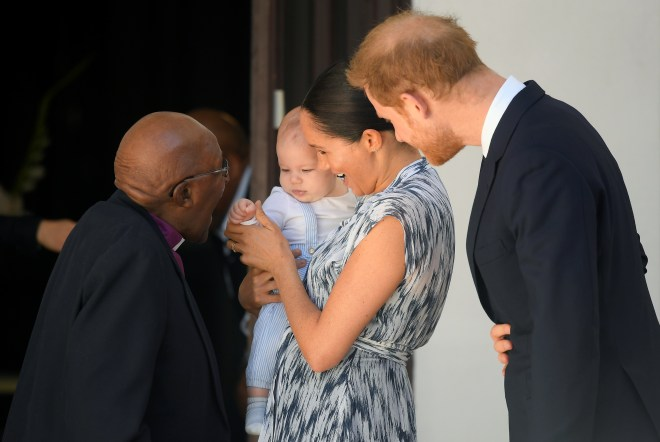 Baby Archie meets Desmond Tutu today on the Sussex family's third day of their royal tour