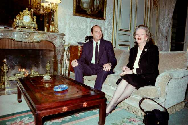 The French leader is seen here with Margaret Thatcher in 1987 in Paris