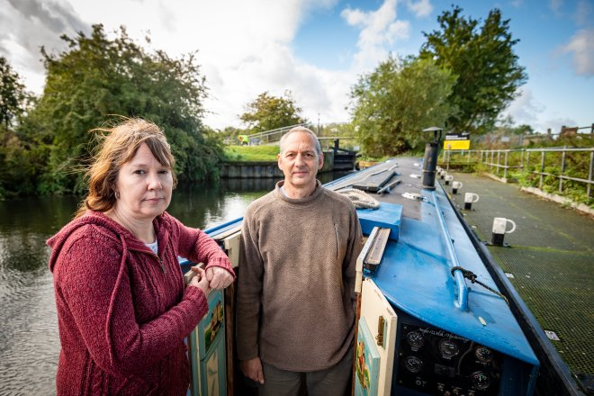 Tina Harding and hubby Mark have been stranded on a canal for five days because a gate broke