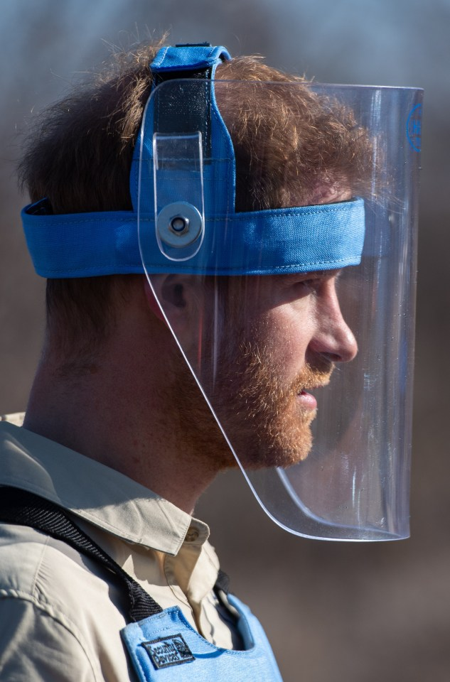 Prince Harry wore a protective helmet for this morning's landmine detonation
