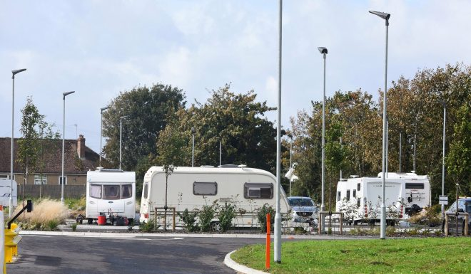 A group of travellers have returned to the car park at the University of Chichester's new Tech Park which was opened by Meghan and Prince Harry
