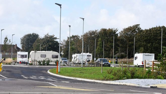 Police confirmed they were aware of the presence of travellers in the car park