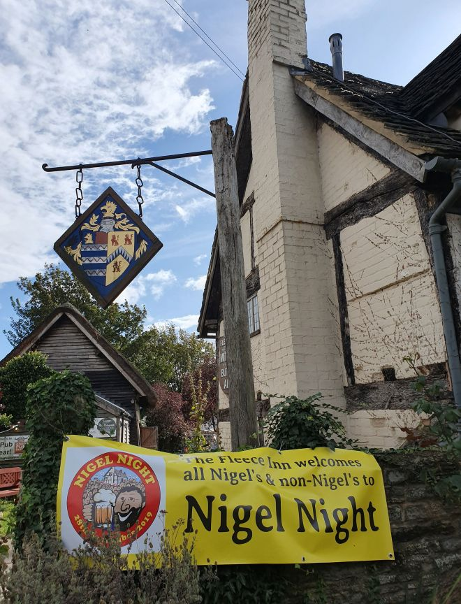 The gathering of Nigel's took place at the Fleece Inn at Bretforton, Worcs