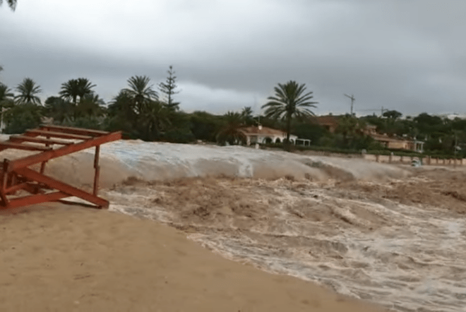 Many tourist beaches - including Playa de Campoamor - have been washed away in the storms