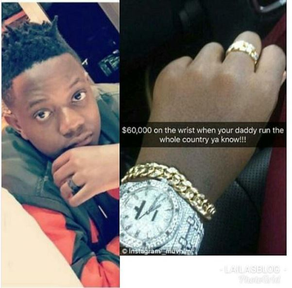 Berlamine Chatunga and his diamond encrusted watch