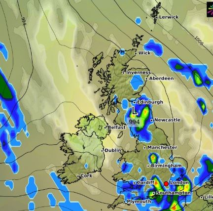 This map from WX Charts shows isolated showers in the UK on Wednesday