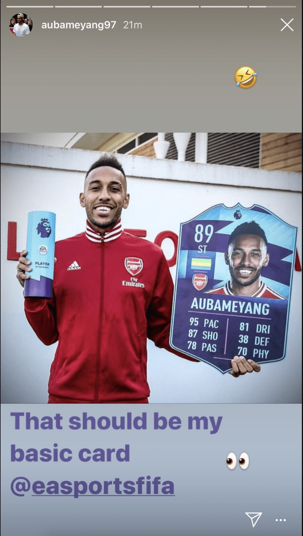 Pierre-Emerick Aubameyang has slammed FIFA 20's rating of him