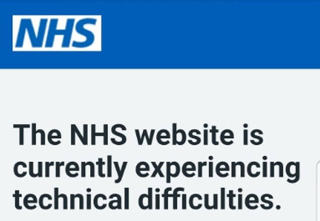 The NHS website crashed last night, believed due to demand