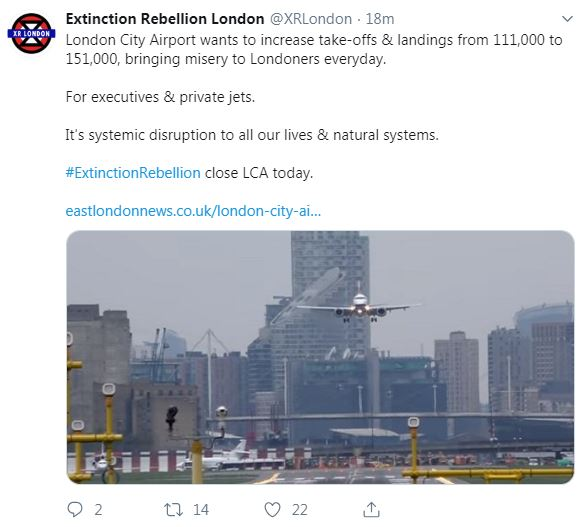 Extinction Rebellion have declared they will shut down London City Airport