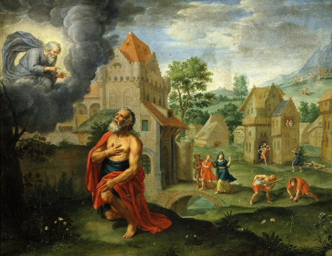 God announcing the Flood to Noah in a 17th century Flemish painting on copper, The Art Archive / Queretaro Museum Mexico / Dagli Orti