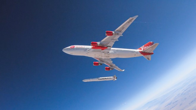 Richard Branson's Virgin Orbit, releases a rocket from underneath the wing of a modified Boeing 747 jetliner during a high-altitude drop test in July