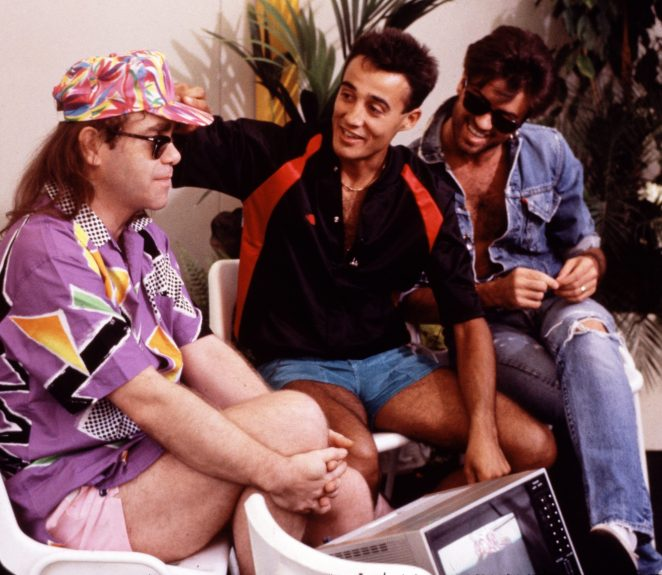 Andrew and George backstage with Elton John at the final Wham! concert at Wembley in 1986