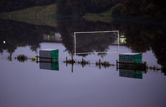 A football pitch in North Yorkshire is flooded after as ex-Hurricane Lorenzo comes across the UK