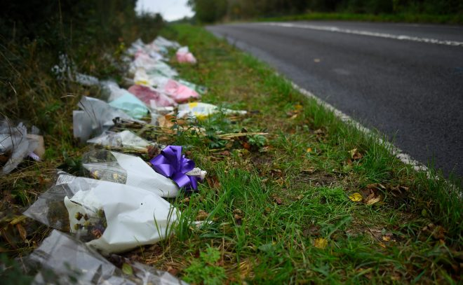 Tributes were left outside the base after the teen was killed