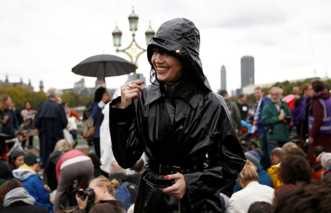 Model Daisy Lowe attends the Extinction Rebellion protest in London