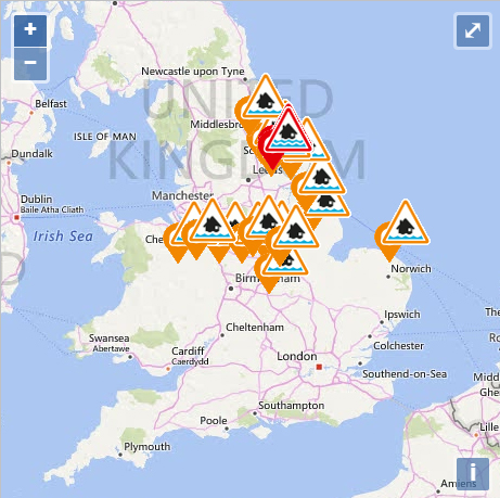 As many as 16 flood alerts and two flood warnings have been issued across the country for Tuesday - mainly affecting the Midlands and the North East