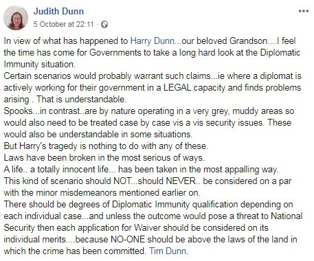 Grandmother Judith Dunn asked for the government to reassess diplomatic immunity