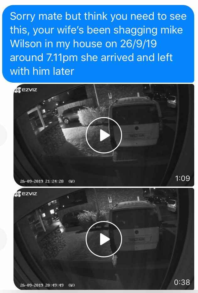 The owner of the house shared the video with the woman's husband