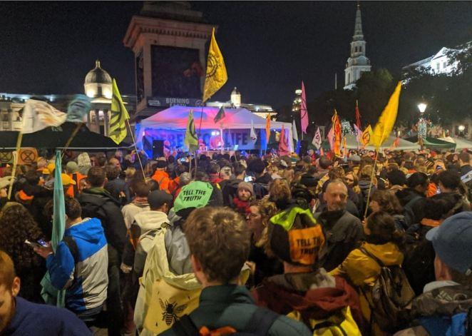 Orbital performed for the protesters in Trafalgar Square last night