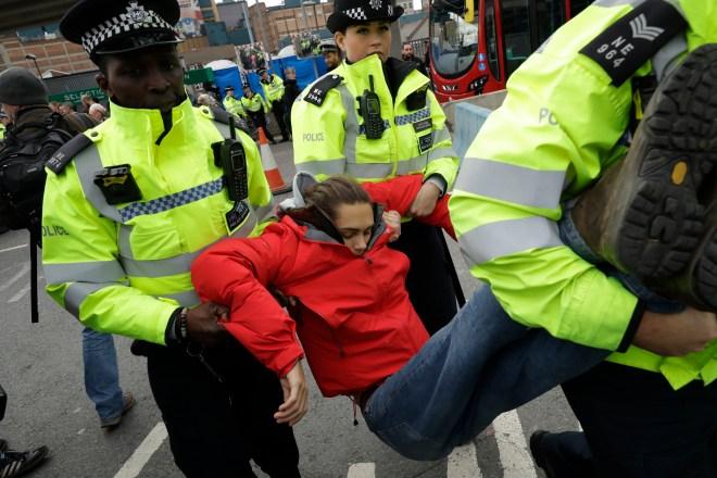 Hundreds were arrested after blocking roads