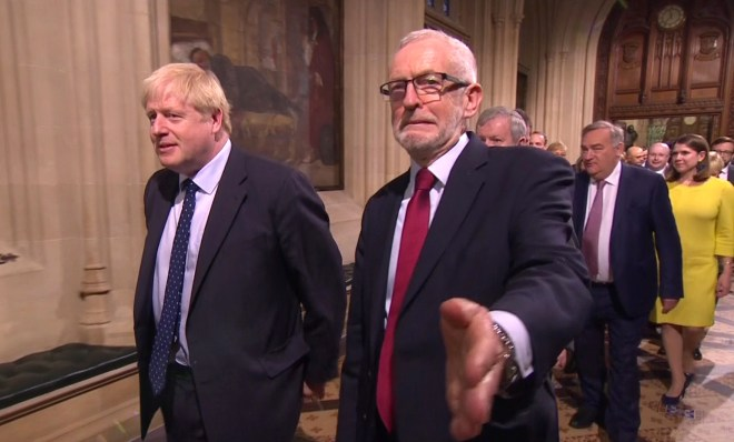 Boris Johnson and Jeremy Corbyn appeared incredibly awkward as they walked in together