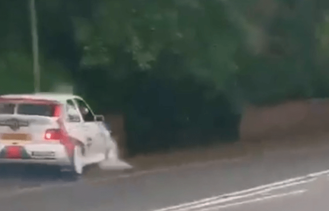 This is the moment a rally car crashes into a lamppost on a bride's wedding day